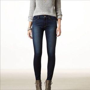 American Eagle Blue Super Stretch Skinny Jeans